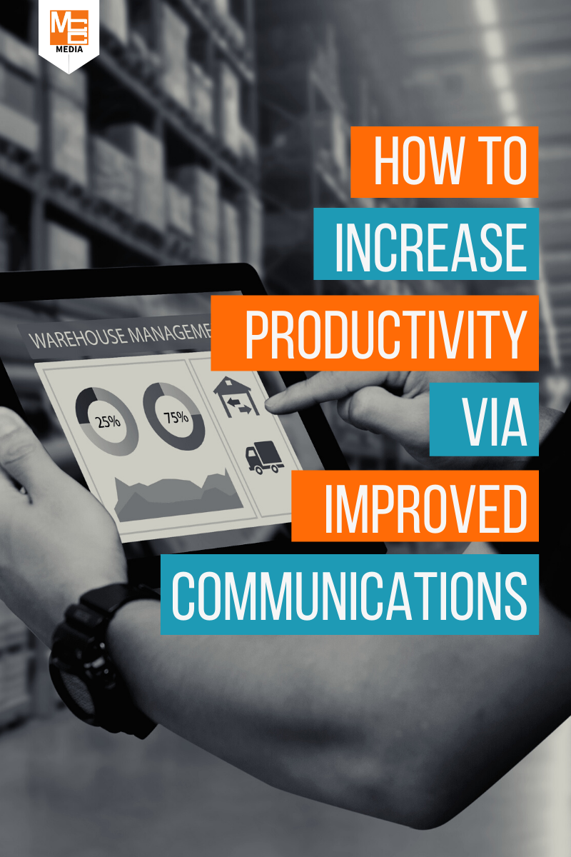How to increase productivity via improved communications blog post graphic for materials management digital signage from MCC